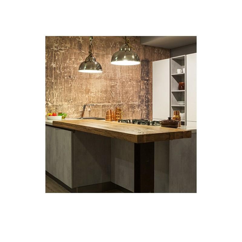 Top Cucina Piano Snack Penisola Per Colazione 150x50x6 In Legno Massello